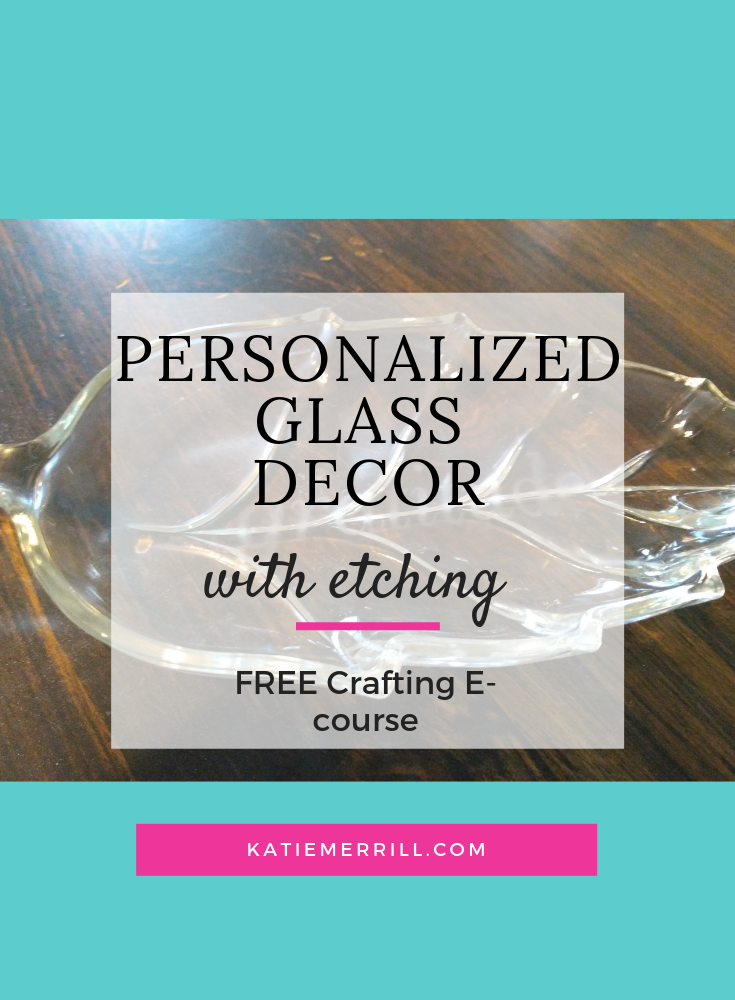 Personalized Glass Decor with etching. Leaf shaped decorative bowl with gratitude etched on it.