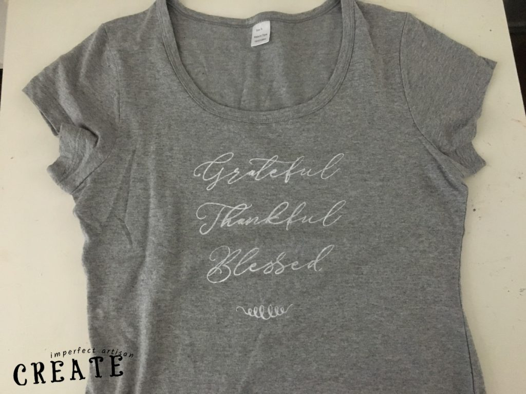 gray t-shirt with grateful, thankful, blessed written on in in white ink