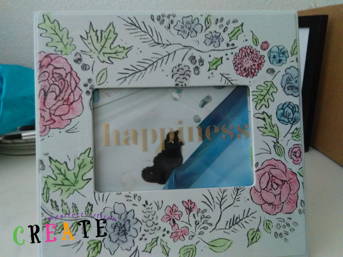 Renew an Old Frame with Gorgeous Stencil and Watercolor Flowers