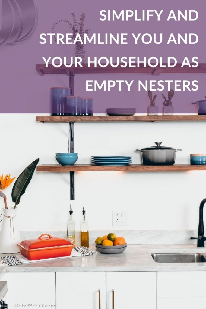 Simplify and Streamline You and Your Household as Empty Nesters | minimalist white and blue kitchen